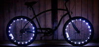 Bike with LED string lights, battery powered
