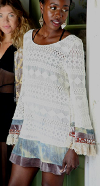 Mimi Embellished Tunic in Ivory or Black from Gypsy Junkies