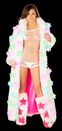 Long faux fur coat with multi colored lights
