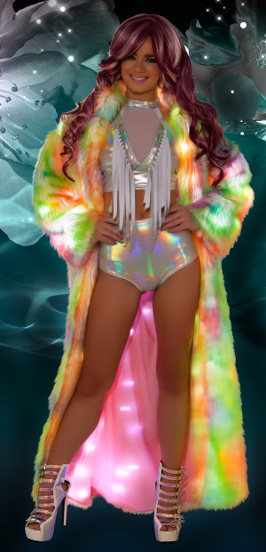 Long Faux Fur Coat in Rainbow Sherbet Colors