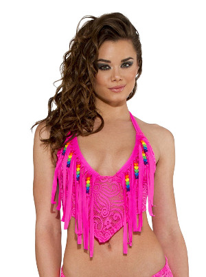 Beaded fringe halter top in pink