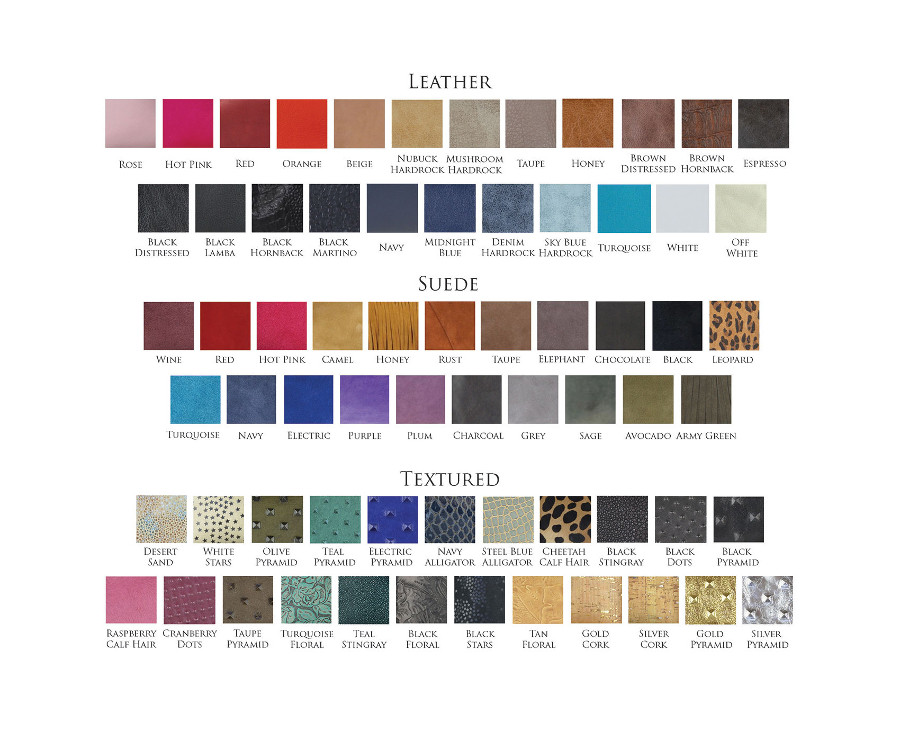Color swatches for JJ Winters bags