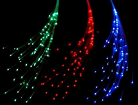 Fiber Optic Hair Barettes in Green, Red and Blue